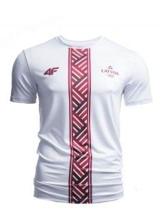 Men's active T-shirt Latvia PeyeongChang 2018 TSMF800 - white
