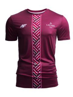 Men's active T-shirt Latvia PeyeongChang 2018 TSMF800 - burgundy