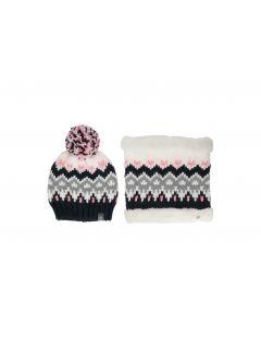 Hat + scarf for older children (girls) JGIFTSD214 - multicolor