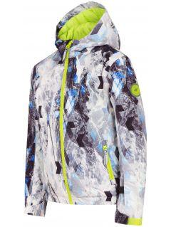 Ski jacket for younger children (boys) JKUMN303 - black and white allover