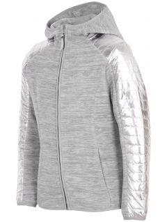 Fleece hoodie for older children (girls) JPLD401 - grey melange