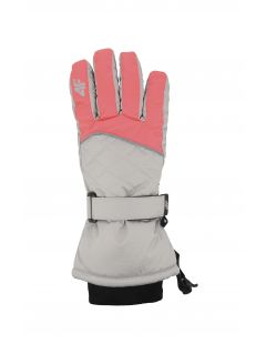 Ski gloves for older children (girls) JRED403 - coral pink neon