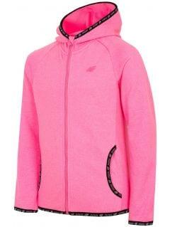 Fleece hoodie for younger children (girls) JPLD300 - fuchsia