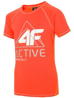 Active T-shirt for older children (boys) JTSM405 - orange neon