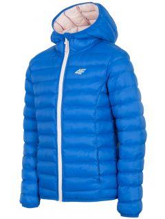 Down jacket for older children (girls) JKUDP206A - cobalt blue